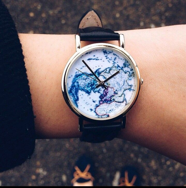 World wrist watch // black strap, golden ring and Earth map