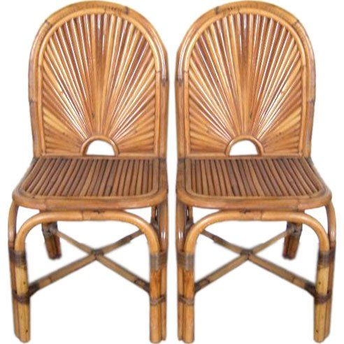 """Eight Gabriella Crespi """"Rising Sun"""" Bamboo Dining Chairs 