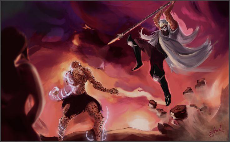 Jai painted the final fight scene between Arlen and Jardir