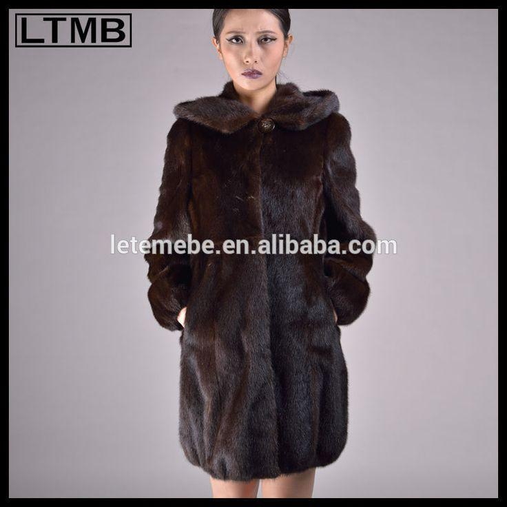2015 vendere con cappuccio pelliccia di visone nero/pieno manica/cappello