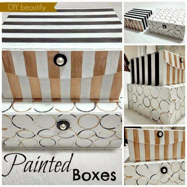 Upcycled Storage Boxes with paint www.diybeautify.com