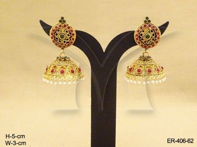 Manekratna Jhumki Kemp Stone Earrings