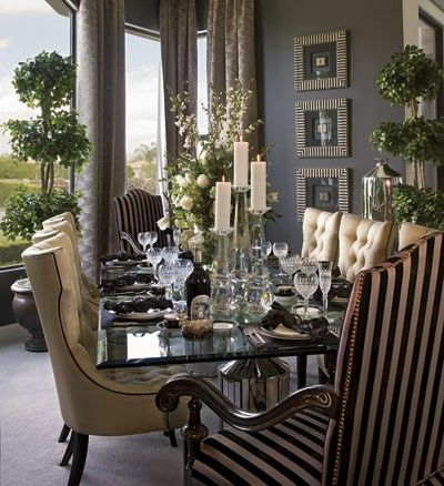 I love to see what colours are used with grey. The grey hues, highlights of other colours brings this classic dining room all together. JH