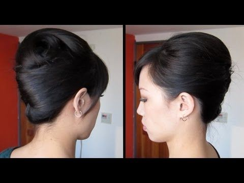 This would look so pretty (and hold with way fewer painful pins) with www.LillaRose.biz/InnerBeauty ! French twist tutorial updo for long, thick hair - YouTube