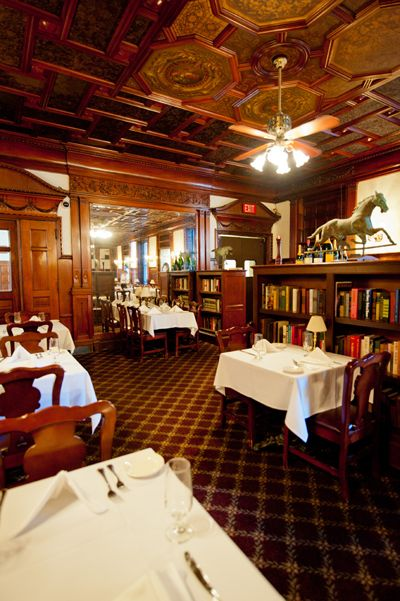 Portsmouth, NH - Library Restaurant serves traditional New England fare and is open for dinner, lunch and brunch. If vodka is your thing, you'll do no better than the book-lined English oak bar which has more than 120 brands of vodka and 96 kinds of martinis.