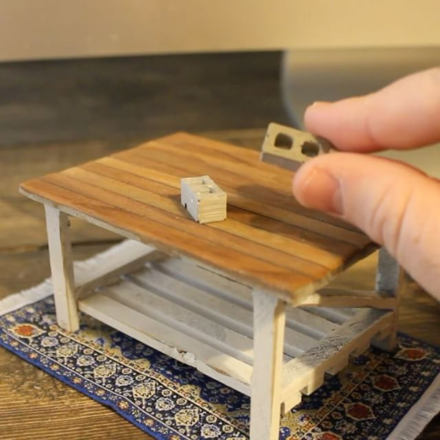 Our 1 24 Cinder Blocks Make This Tiny Coffee Table Look Huge Mini Materials So Pinterest Miniatures And Diorama