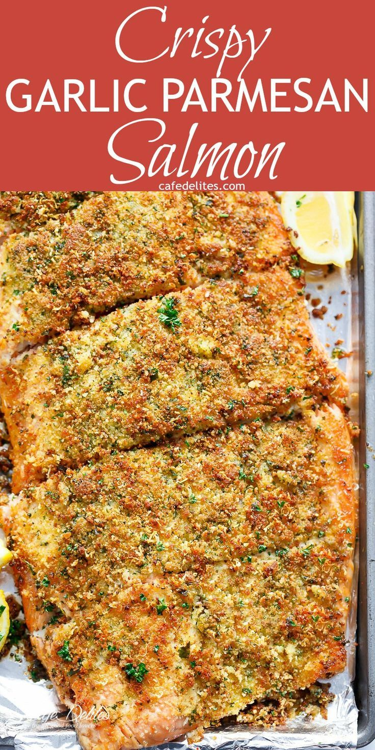 Crispy Garlic Parmesan Salmon is ready and 0n your table in less than 15 minutes, with a 5-ingredient crispy top! Restaurant quality salmon right at home! | http://cafedelites.com
