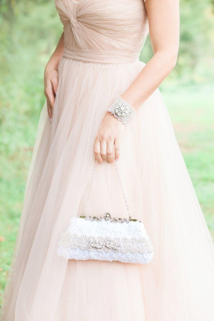 Pretty blush wedding gown and bridal accessories | fabmood.com
