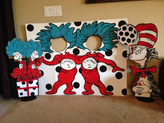 I can do this!!!  Let's Be Thing 1 and Thing 2 Party Photo by PrettyPartiesndPaint, $115.00