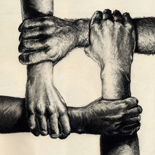 16. The artist uses unity by having all the hands connected and firmly grasping eachothers wrists to get across their message that society needs to stick together and unify, regardless of differences, in order to be successful