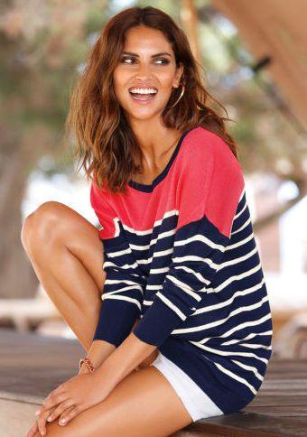 Pruhovaný pulovr s dlouhými rukávy #ModinoCZ #sweater #jumper #blue #red #stripes #fashion #svetr #pulovr #pruhy #moda