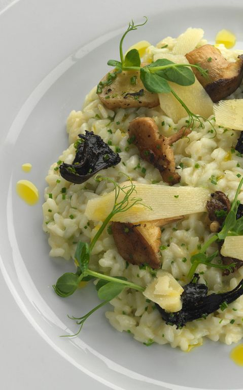 Mushroom risotto with Parmesan and truffle oil - Paul Heathcote. This mushroom recipe makes for a fantastic risotto to make utilising a number of kitchen cupboard staples to make a delicious meal.