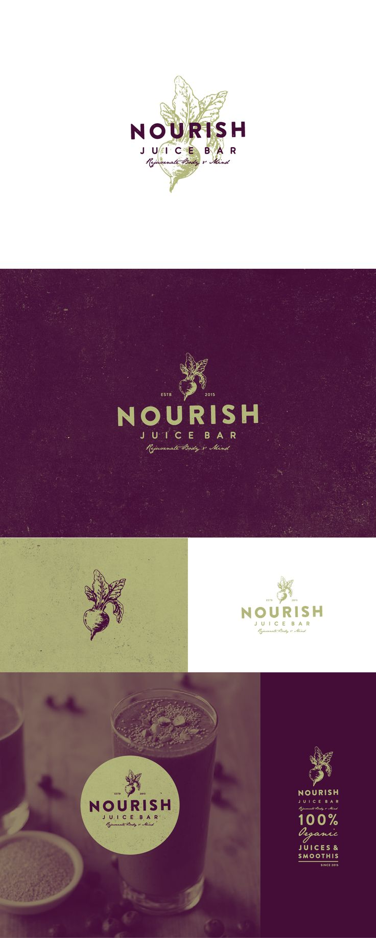 logo design for NOURISH juice bar                                                                                                                                                                                 More