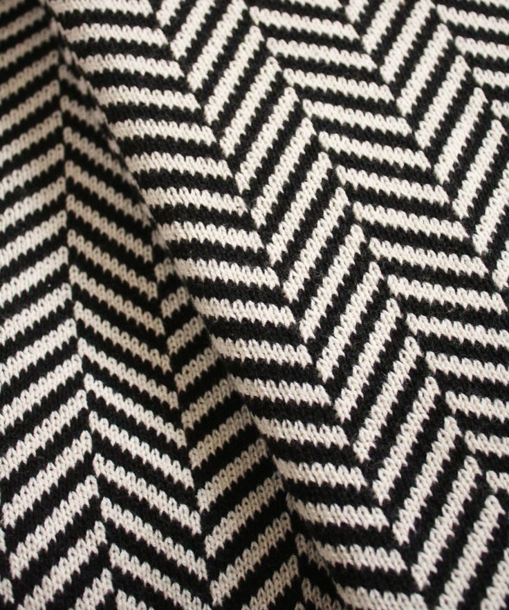 Knit Herringbone Throw Blanket, Black & White