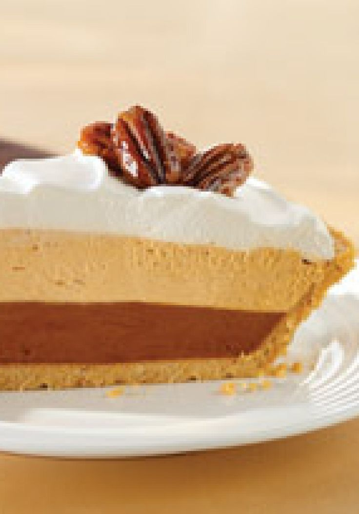 Triple-Layer Pumpkin Spice Pie – No pumpkin? No problem! You can make this yummy no-bake pie with JELL-O Pumpkin Spice Flavor Instant Pudding and COOL WHIP Whipped Topping.