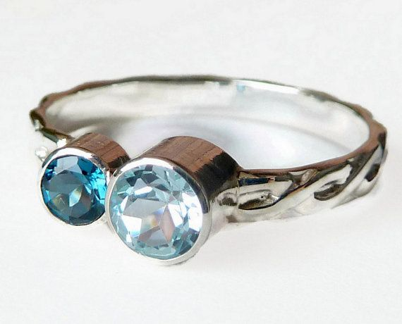 Double Birthstone Ring  Gemstone Ring  Mothers by GizmosTreasures, $99.00