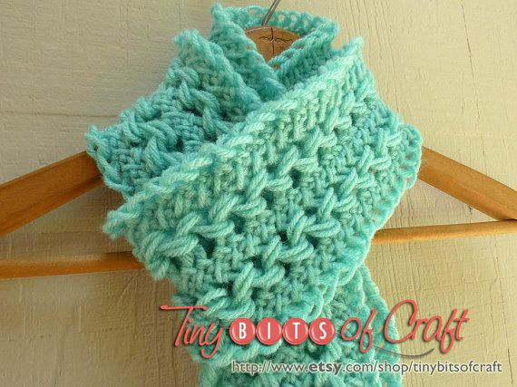 Turquoise Hairpin Lace Scarf