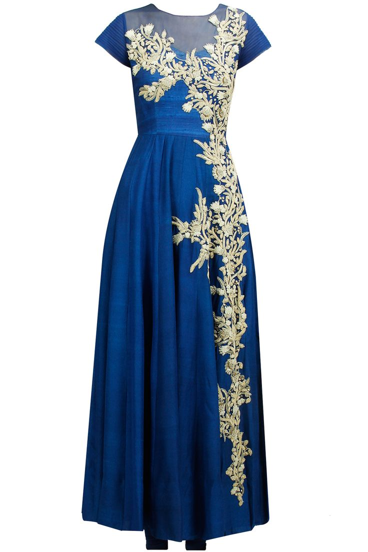 Cobalt blue zardosi embroidered anarkali set available only at Pernia's Pop-Up Shop.