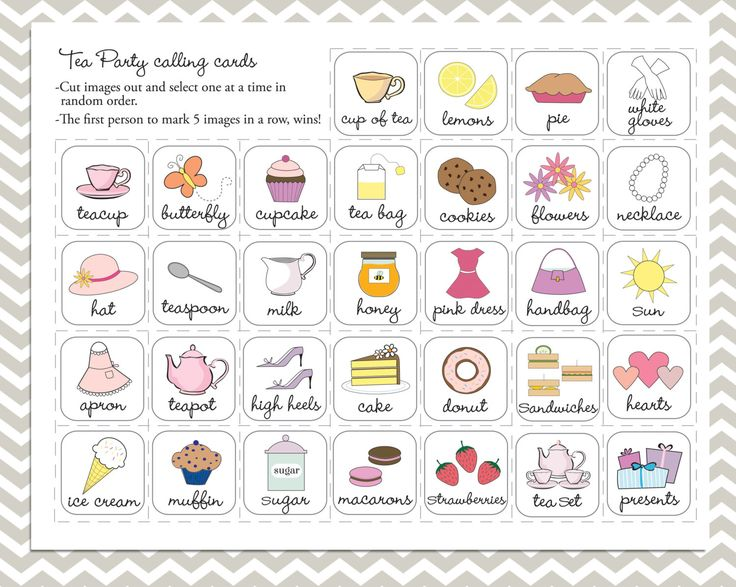 Tea Party Bingo in purple, 20 unique game cards, Printable ...