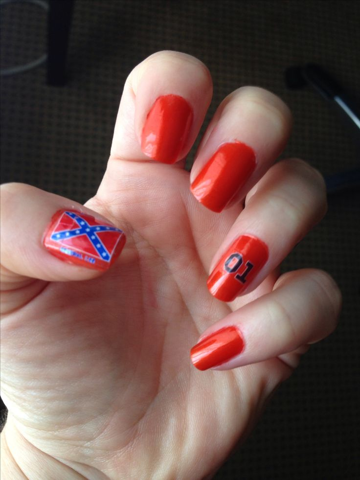 Dukes of Hazzard nails I painted for the fan fair in Nashville, 2013 Fingernails General Lee 01  Dukes of Hazzard
