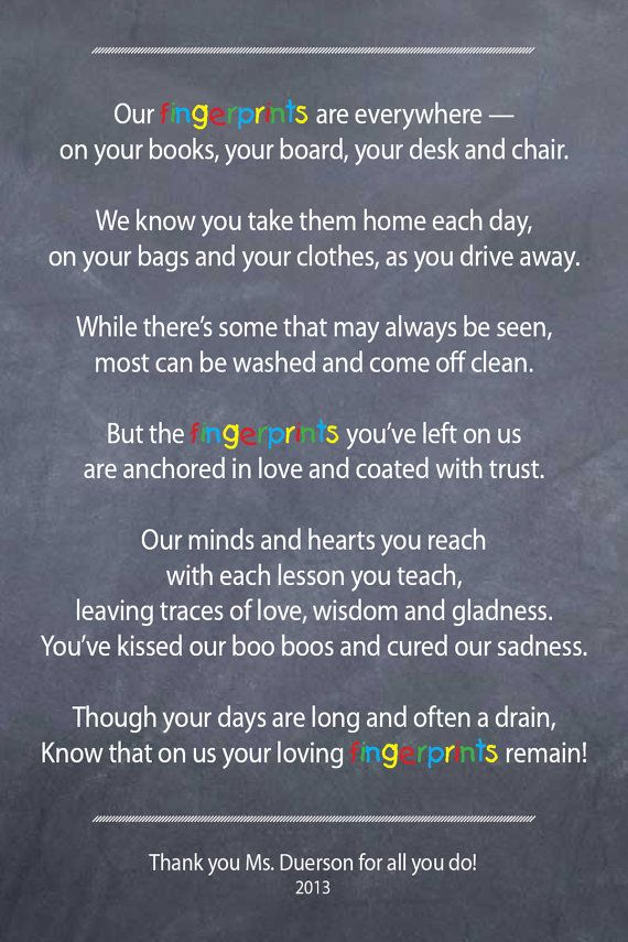 Teacher / Nanny / Babysitter thank you poem  Fingerprints  by 3lbd, $9.00 - Got this for my son's teacher!
