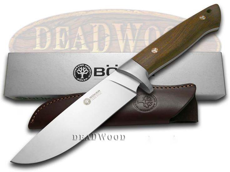 BOKER ARBOLITO Guayacan Ebony Wood Fixed Blade Hunter Stainless Knife - BO2BA351G | 2BA351G - 788857031247