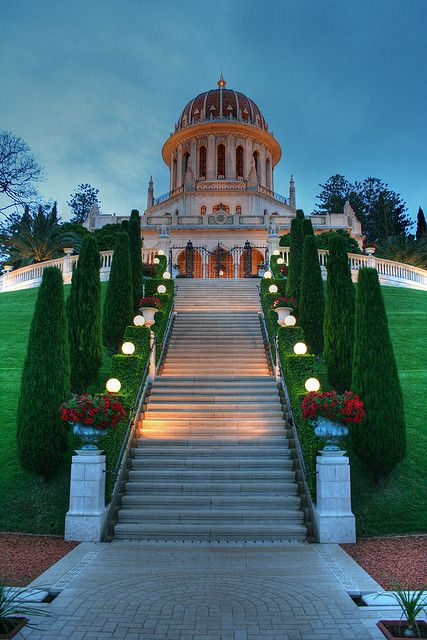 The Shrine of The Báb, Haifa, Israel, where the remains of the Báb, founder of Bábism and forerunner of Bahá'u'lláh in the Bahá'í Faith, have been buried; it is considered to be the second holiest place on Earth for Bahá'ís, after the Shrine of Bahá'u'lláh in Acre. Its precise location on Mount Carmel was designated by Bahá'u'lláh himself to his eldest son, `Abdu'l-Bahá, in 1891.
