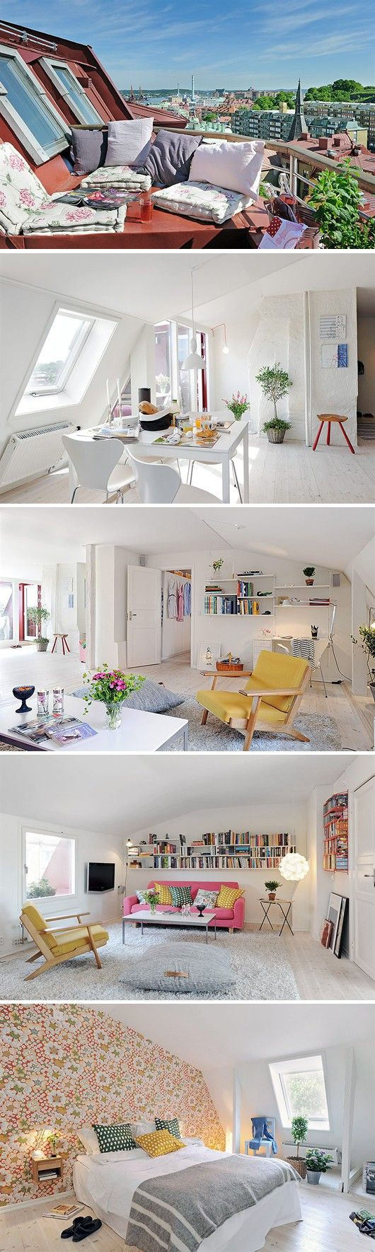Attic design ideas interior example of -  Bright Light Shades Of White With Pops Of Color Spread Through Out Small Loft Opens Up This Space Gives An Airy But Vibrant Vibe Great Example For