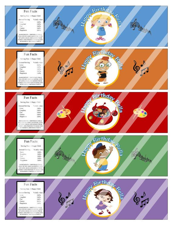 Adorable Disney Little Einsteins Birthday Party Water Bottle Labels Wrappers Party Favors Custom Printables, $5.00