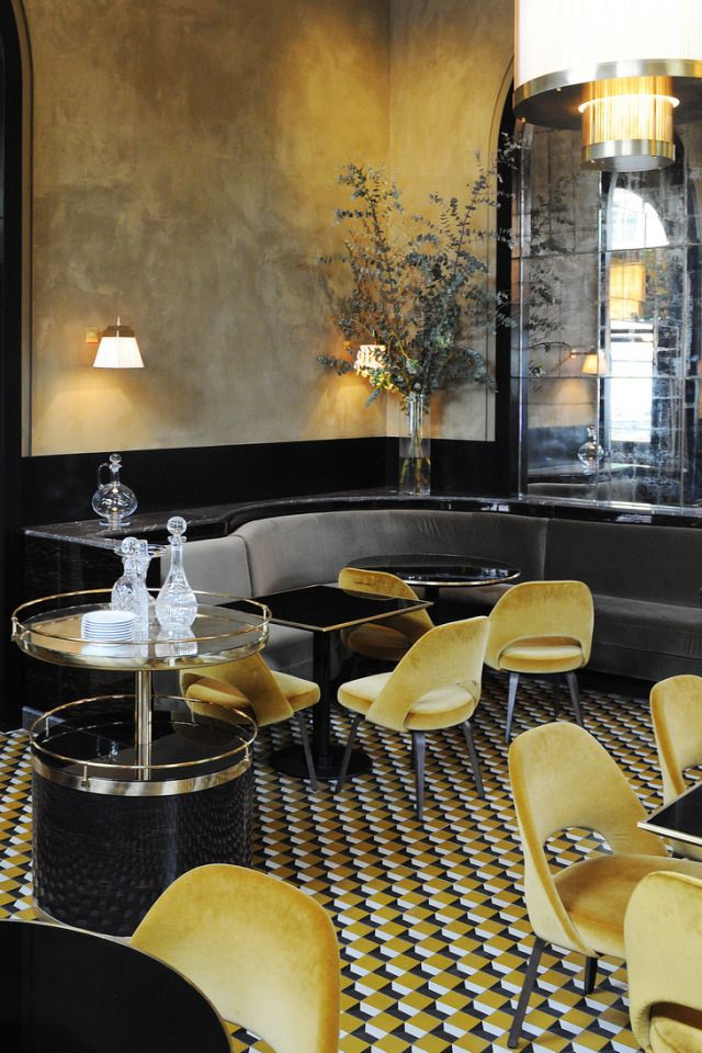 Yellow/Gold in interiors. Le Flandrin Restaurant redesigned by Joseph Dirand