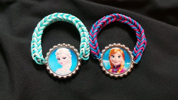 Frozen Elsa and Anna Bottle Cap Rainbow Loom by ComfieCreations, $5.29