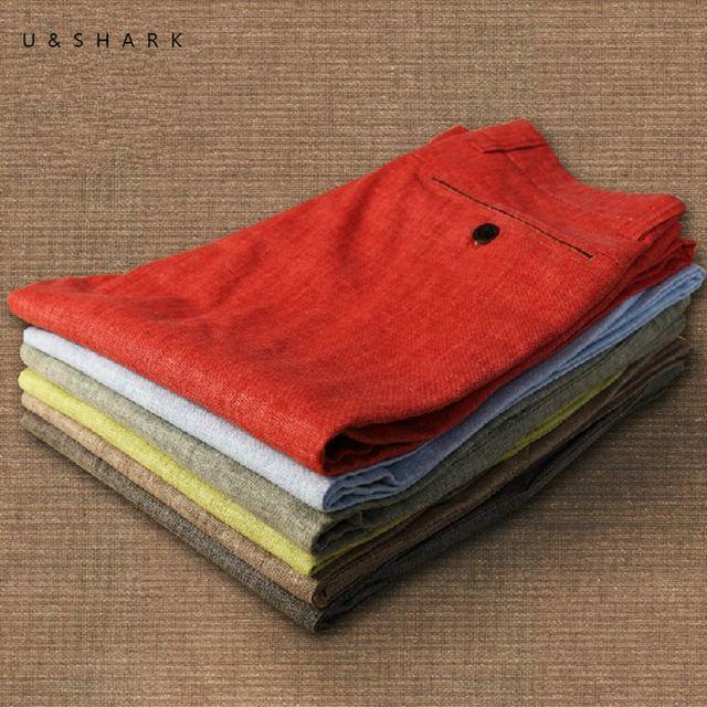 Plus Size Rosso Pantaloni di Lino Uomini 2016 Figura Intera Regular Fit Estate Respirabile Comodo Vestito Casuale Pantaloni di Lino Maschio