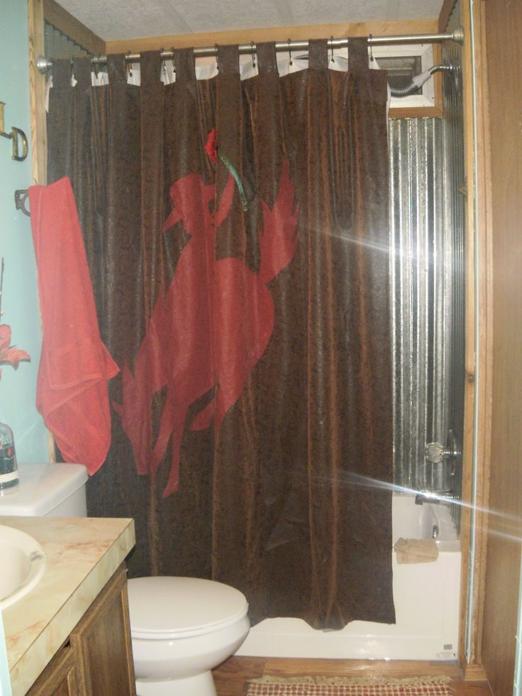 Naturally . . . Custom shower curtain!! . . . combines with corrigated tin bathtub walls & cedar trim! The walls are wonderful turquoise to brighten up & a good wall color because very adaptable to themes and colors!