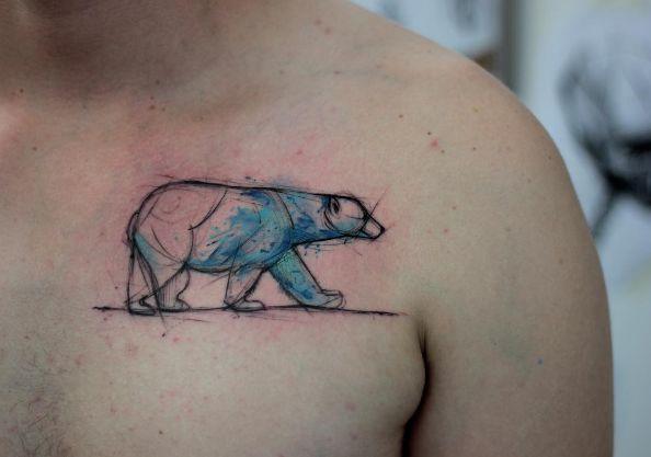Watercolor polar bear by Kamil Mokot