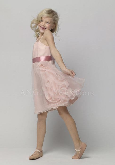Princess Natural Waist Organza Spaghetti Straps Knee Length Sleeveless Flower Girl Dresses