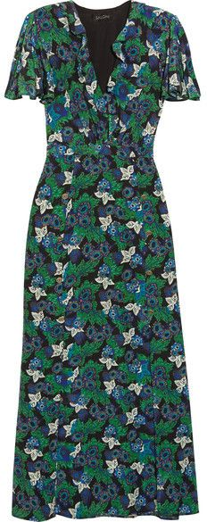 Saloni - Josee Printed Silk-crepe Maxi Dress - Green