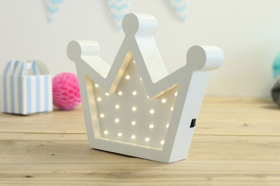 Wooden Crown LED light nursery night light baby by HappyMoonLV