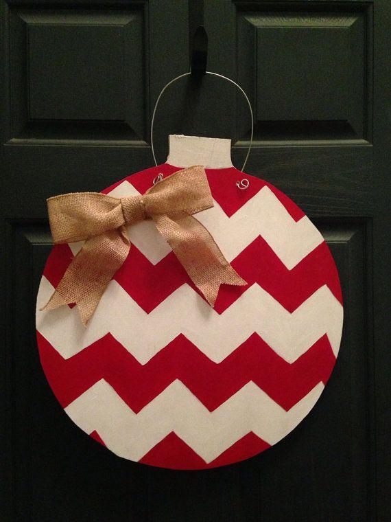 Chevron Wooden Door Hanger Christmas Ornament Wooden