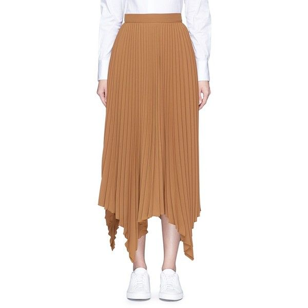 Comme Moi Handkerchief hem pleated maxi skirt (11 275 UAH) ❤ liked on Polyvore featuring skirts, brown, long ruffle skirt, pleated skirt, brown maxi skirt, draped maxi skirt and brown skirt