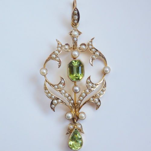 Antique-Victorian-Art-Nouveau-9ct-Gold-Peridot-amp-Pearl-Pendant-Necklace-c1895