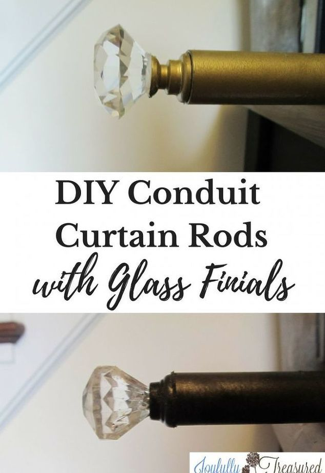 Diy Conduit Curtain Rods With Glass Finials And Diy Curtain