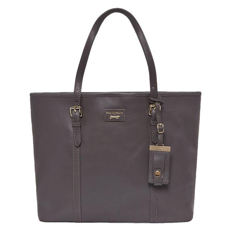 Grey Leather Shopper Bag