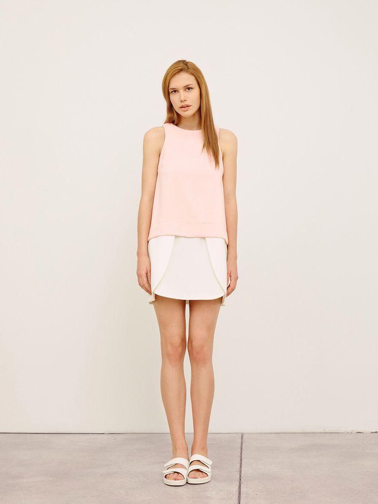 Minimalistic blossom dress in blush pink and white. GARDEROB spring/summer 2015. https://www.etsy.com/listing/228908310/short-wedding-dress-spring-bridesmaid?ref=related-3