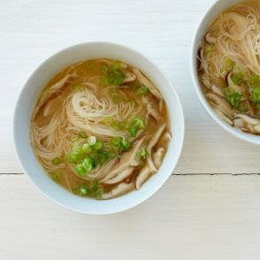 Ginger-Lemon Broth with Rice Noodles by Jessica Seinfeld - I feel like this will be the perfect soup next time I get a cold!