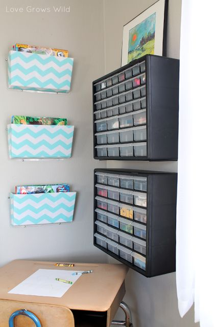 wall files (get from staples) for above the kids' desk to hold homework packets, additional work and workbooks.