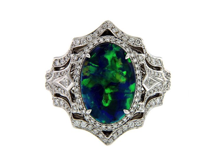 KAT FLORENCE Australian Lightening Ridge Black Opal Ring