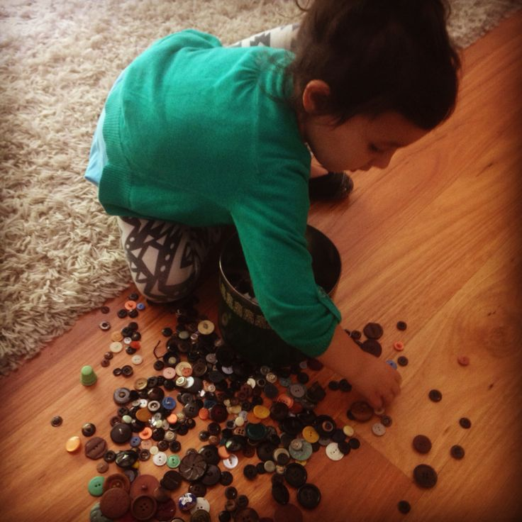 Playing with great nana's button collection xx
