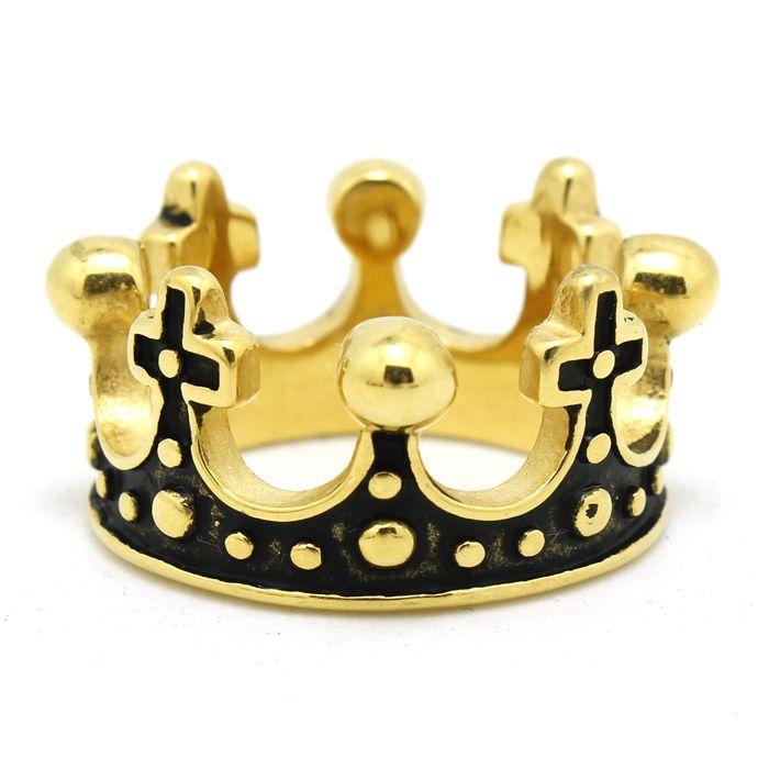 Мужская мальчик 316L нержавеющей стали прохладный панк готический золотая корона кольцо новый дизайн