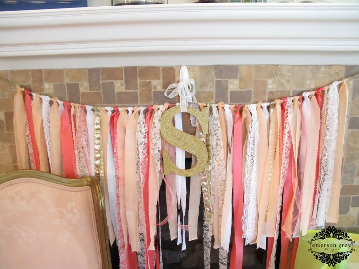 Showering my sister {coral baby shower}, ribbon garland, glitter letter
