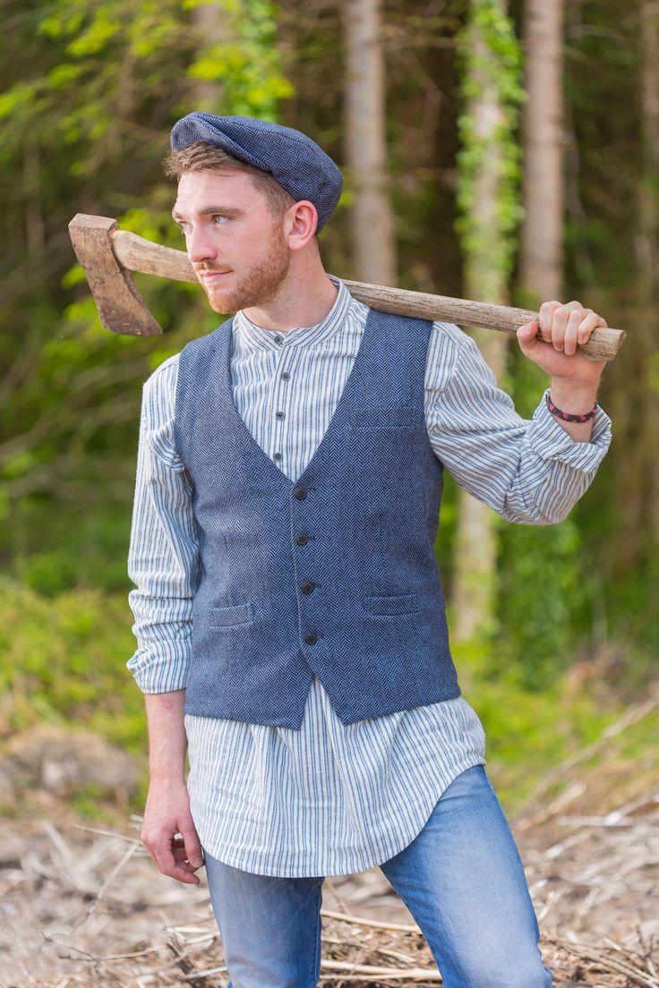 LV2 Blue Stripe Granddad Shirt with the Irish Tweed Vest by Lee Valley Ireland #leevalleyireland #granddadshirt #grandadshirt #irishtweed #irishtweedvest